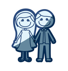Blue silhouette of caricature couple in formal vector