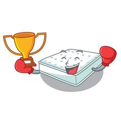 Boxing winner mattress in cartoon on the shape vector