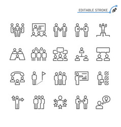 business people line icons editable stroke vector image