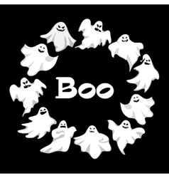 Cartoon spooky Ghost character set Spooky vector image