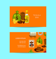 cartoon wild west business card template vector image