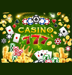 casino chips poker cards 777 and gold coins vector image