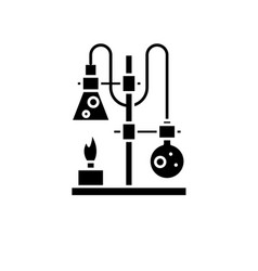chemistry lab black icon sign on isolated vector image