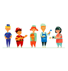 children in career costumes - colorful set of vector image