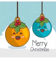 Christmas balls character kawaii style vector