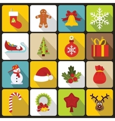 Christmas icons set in flat style vector image