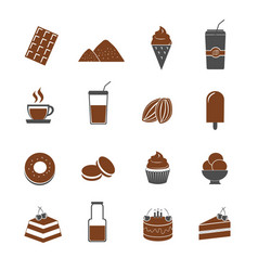 cocoa and chocolate icons set vector image