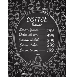 Coffee house chalkboard menu vector image