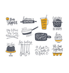 collection lettering handwritten vector image