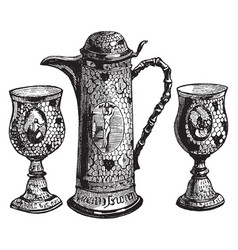 Communion cups and wine flagon vintage vector