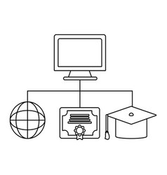 Computer and education items vector
