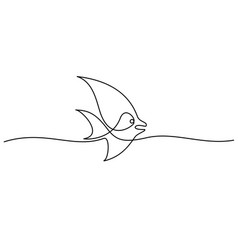 continuous line fish vector image