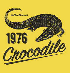 crocodile poster print for t-shirt alligator vector image