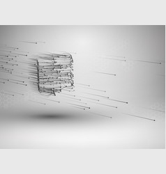 cube with connected lines and dots wireframe mesh vector image