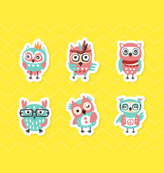 cute colorful hand drawn owlets stickers set vector image