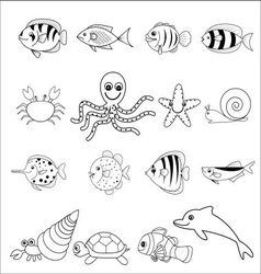 cute marine icons vector image