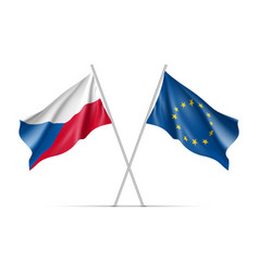 czech republic and european union waving flags vector image vector image