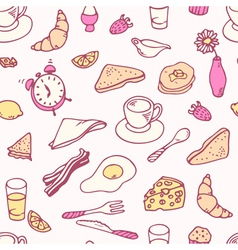 Doodle breakfast seamless pattern vector
