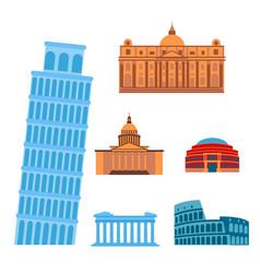 Euro trip tourism travel design famous building vector