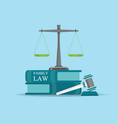 Family law books with a judges gavel in flat style vector