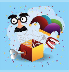 funny box with joker hat and teeth vector image