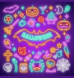 Halloween neon icons set vector