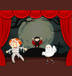Halloween theme with children in costume vector