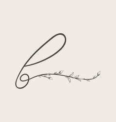 hand drawn floral b monogram and logo vector image