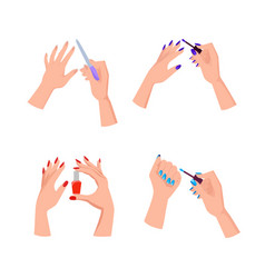 Hands with bright neat manicure set vector