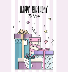 Happy birthday card with hand drawn gift boxes vector
