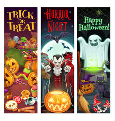 happy halloween trick or treat monsters party vector image