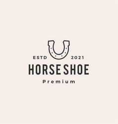 horse shoe hipster vintage logo icon vector image