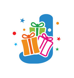 initial gift j vector image