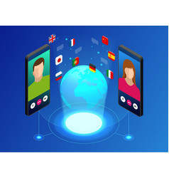 Isometric online voice translator and learning vector