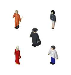 Isometric people set of detective female cleaner vector