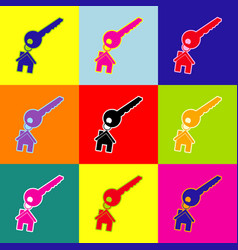 key with keychain as an house sign pop vector image
