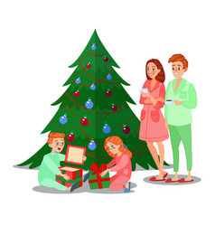 kids opens christmas gifts happy family vector image