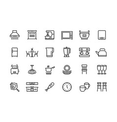 Kitchen line icons furniture appliances vector