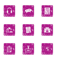 Listen to complaint icons set grunge style vector
