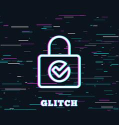 lock with check line icon private locker sign vector image