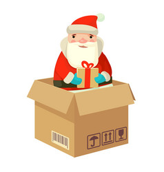 logistic santa claus with a gift vector image