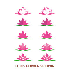 Lotus flower set icon with different style vector