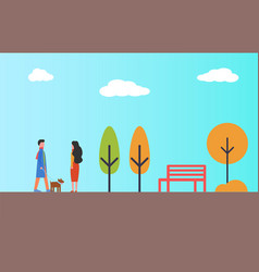 man waking in park with pet dog woman autumn vector image