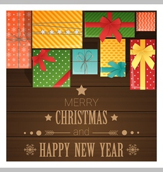 Merry Christmas and Happy New Year greeting card 7 vector