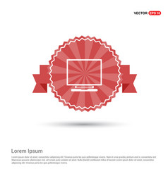 Monitor icon - red ribbon banner vector