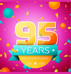 ninety five years anniversary celebration design vector image