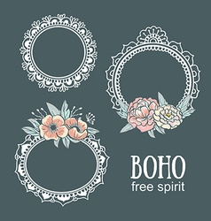 Ornamental Boho Style Frames and elements vector