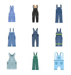 Overalls workwear icons set flat style vector