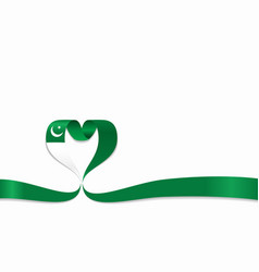 pakistani flag heart-shaped ribbon vector image