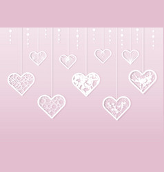 paper cut white lacy heart valentine s day vector image